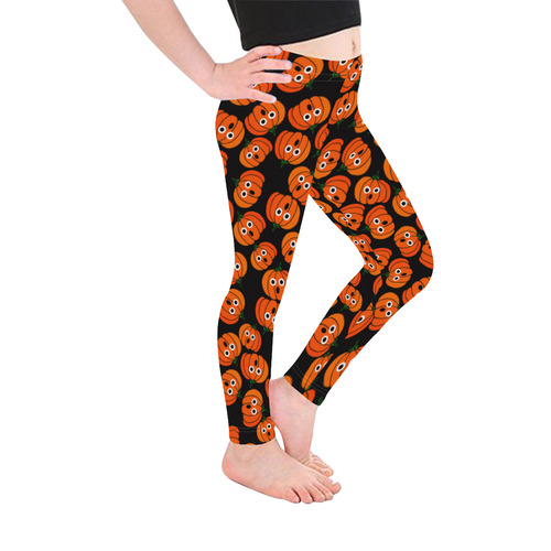 Spooked Halloween Pumpkins Kid's Ankle Length Leggings (Model L06)