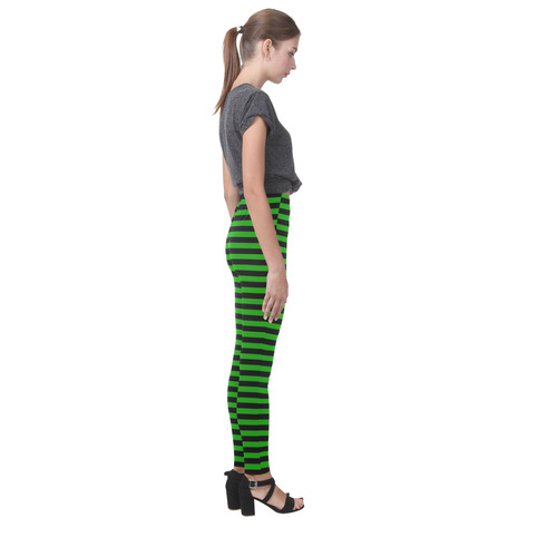 Halloween Black and Green Stripes Cassandra Women's Leggings (Model L01)