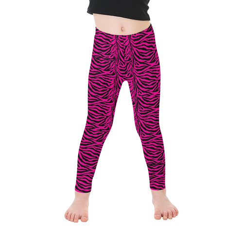 Halloween Zebra Hot Pink Pattern Kid's Ankle Length Leggings (Model L06)