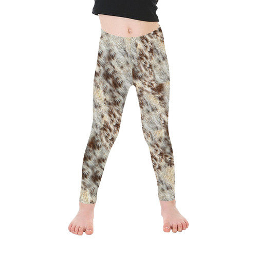 Halloween Animal Fur Pattern Kid's Ankle Length Leggings (Model L06)