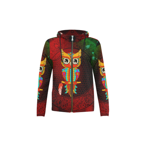 Cute owl, mandala design All Over Print Full Zip Hoodie for Kid (Model H14)