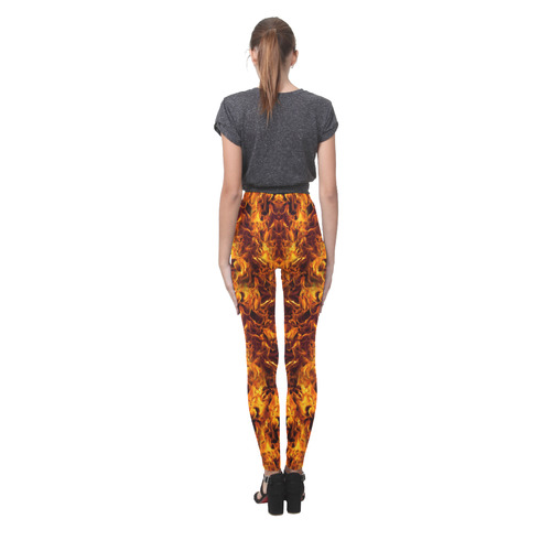 Halloween Flaming Fire Cassandra Women's Leggings (Model L01)
