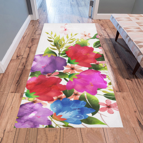 Red Purple Blue Pink Watercolor Floral Area Rug 7 X3 3 Id D1801048