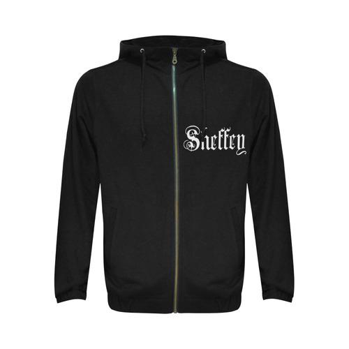 Sheffey - White Text on Black 1658 Logo All Over Print Full Zip Hoodie for Men (Model H14)