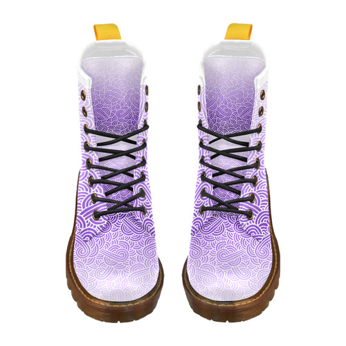 Ombre purple and white swirls doodles High Grade PU Leather Martin Boots For Men Model 402H