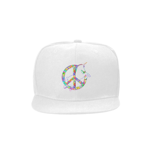 8a008aee9ce White UNICORN in a multicolored Splatter PEACE Unisex Snapback Hat ...