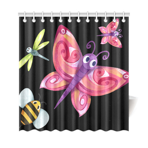Cute Bee Butterfly Dragonfly Ladybug Shower Curtain 69x72