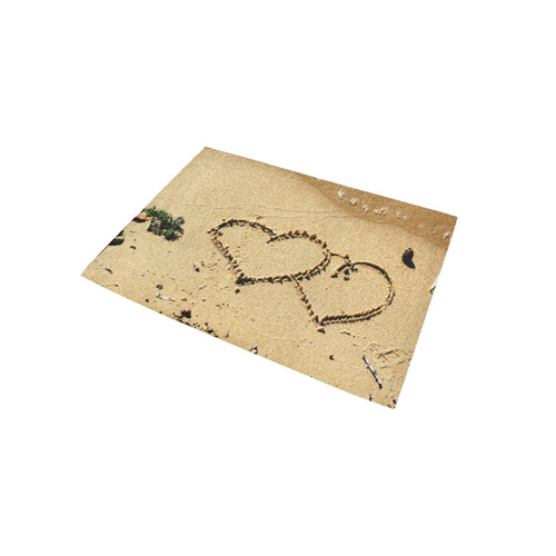 Hearts Written In Sand Area Rug 5'x3'3''