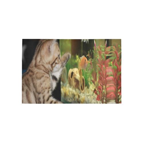 Wishing To Be Fishing Kitten Area Rug 5'x3'3''