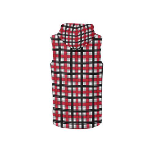 Plaid tartan red black All Over Print Sleeveless Zip Up Hoodie for Women (Model H16)