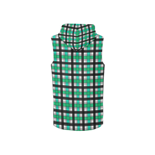 Plaid tartan green , Teal , black All Over Print Sleeveless Zip Up Hoodie for Women (Model H16)