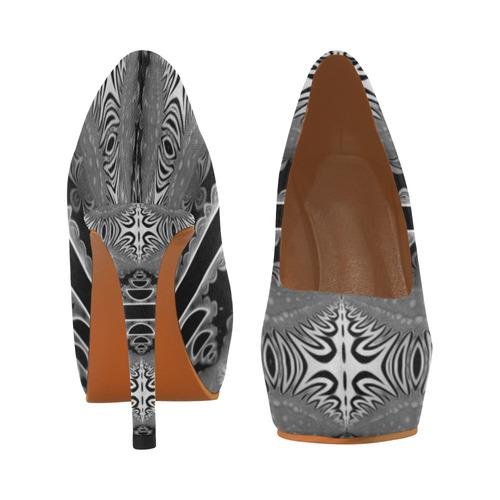 Kaleidoscope Fractal BORDER black white grey Women's High Heels (Model 044)