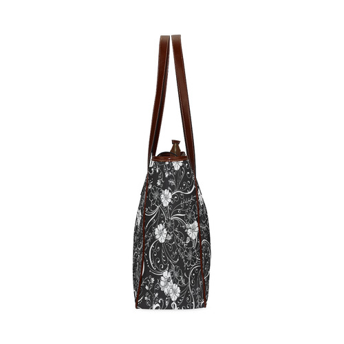 Handbag Black White Flower Juleez Classic Tote Bag (Model 1644)