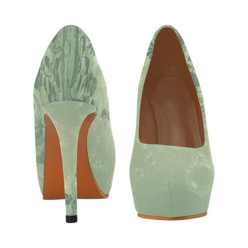 Soft green flowers Women's High Heels (Model 044)