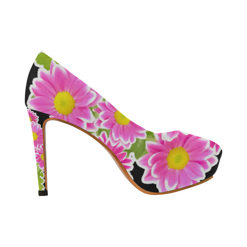 Asters Bouquet Pink White Flowers Women's High Heels (Model 044)