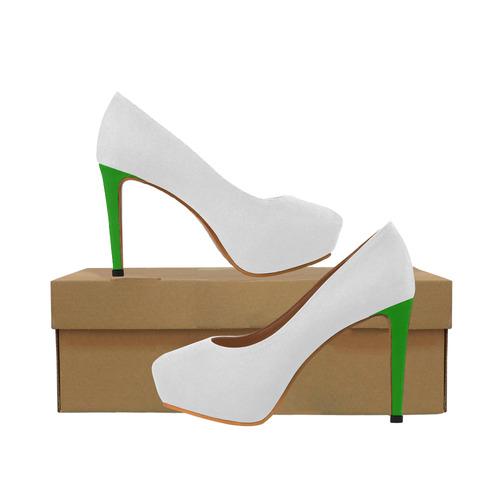 e9ac000d9a3 Winter Wedding White with Notable Neon Green Heels Women's High Heels  (Model 044)