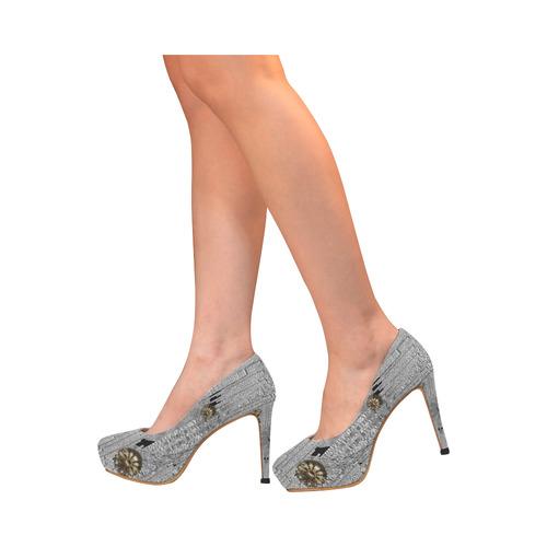 Wonderful gold flowers on silver Women's High Heels (Model 044)