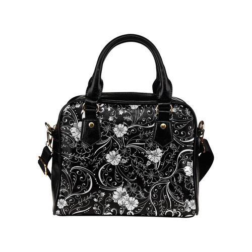 Black White Flower Juleez Shoulder Handbag (Model 1634)