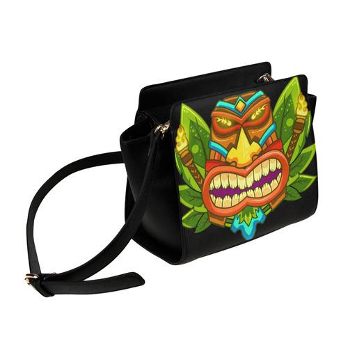 Hawaiian Tropical Tiki Mask Floral Satchel Bag (Model 1635)