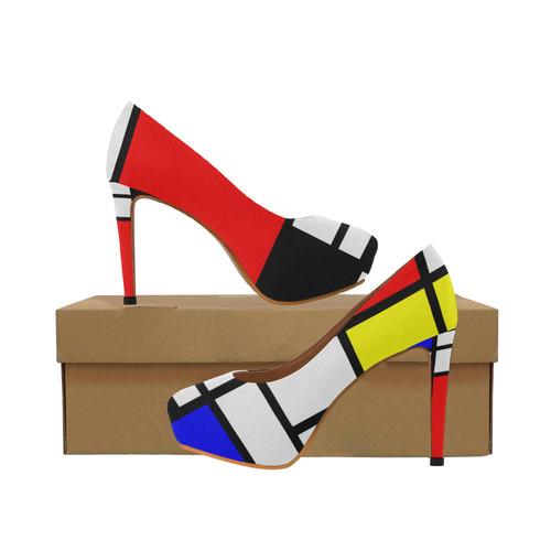 b6f07400803 Mosaic DE STIJL Style black yellow red blue Women's High Heels (Model 044)