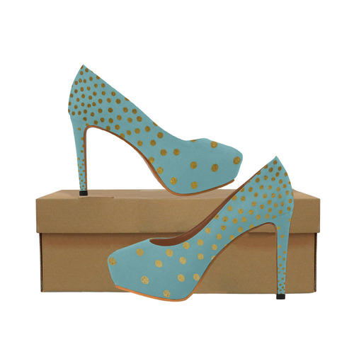 Gold Elegance Polka Dots Shower Women's High Heels (Model 044)