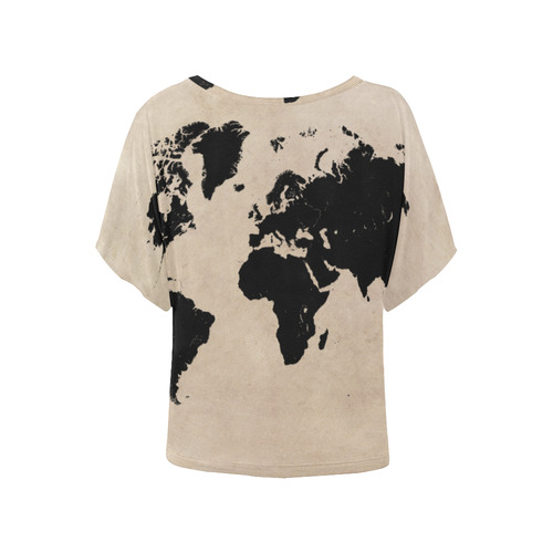 world map Women's Batwing-Sleeved Blouse T shirt (Model T44)