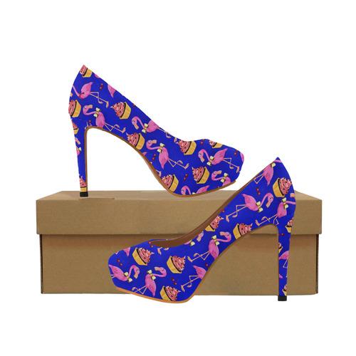 06f095d358d Rockabilly Flamingo Fantasy - Blue Women s High Heels (Model 044 ...