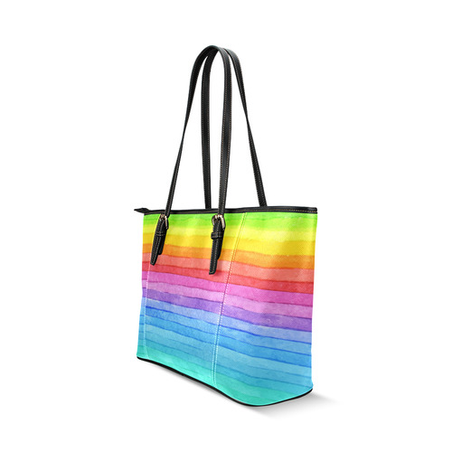 Watercolor Rainbow Leather Tote Bag/Small (Model 1640)