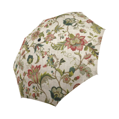 Red Green Jacobean Crewel Embroidery Pattern AutoFoldable Umbrella Unique Crewel Embroidery Patterns