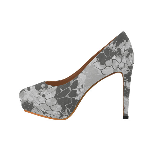 gray snake scales animal skin design camouflage Women's High Heels (Model 044)