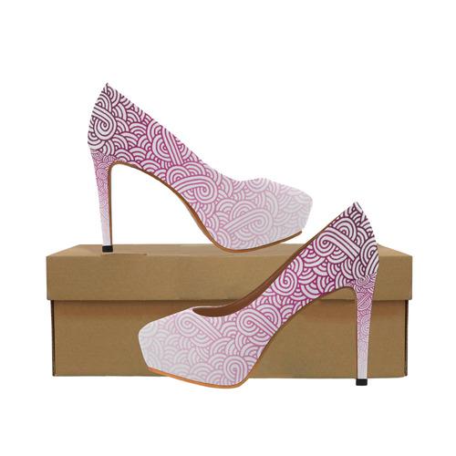 6c2953f83083 Gradient pink and white swirls doodles Women s High Heels (Model 044 ...