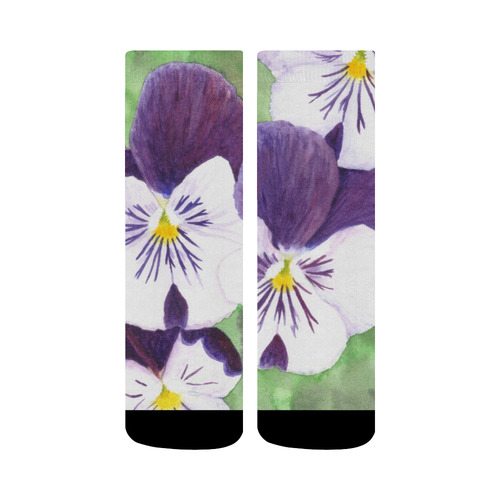 Purple and white pansies flowers crew socks id d1841580 purple and white pansies flowers crew socks mightylinksfo