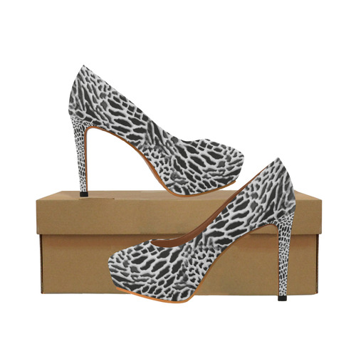 wild cat - black and white Women's High Heels (Model 044)