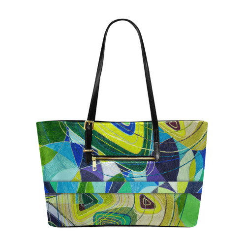 Abstract Geometric Fabric Painting Blue Green Euramerican Tote Bag/Large (Model 1656)