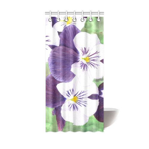 Purple And White Pansies Flowers Shower Curtain 36x72