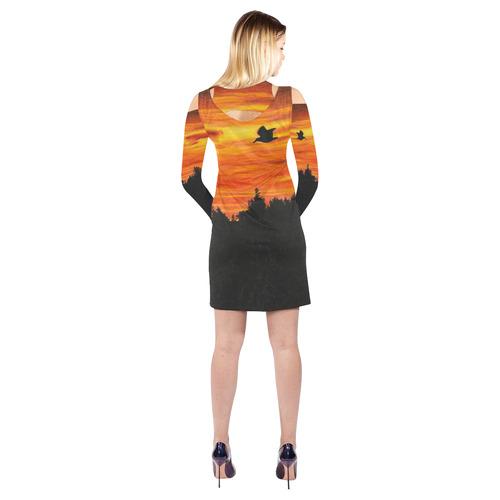 Sunset with bird Cold Shoulder Long Sleeve Dress (Model D37)