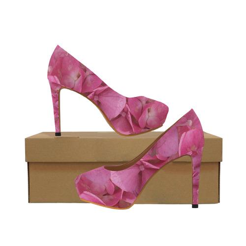 Dark Pink Flowers Women's High Heels