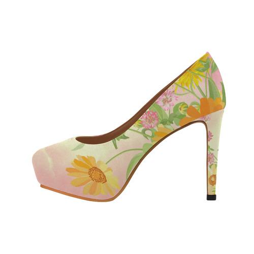 Wonderful flowers, soft colors Women's High Heels (Model 044)