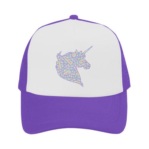 45f4e462 Rainbow and white swirls doodles unicorn head Trucker Hat | ID: D1850577