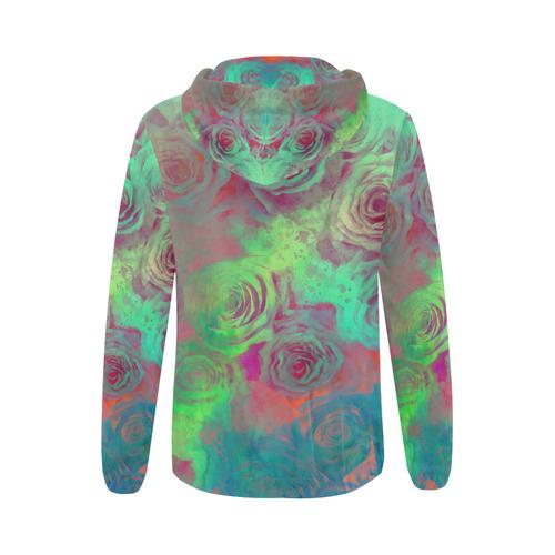 flowers roses All Over Print Full Zip Hoodie for Women (Model H14)