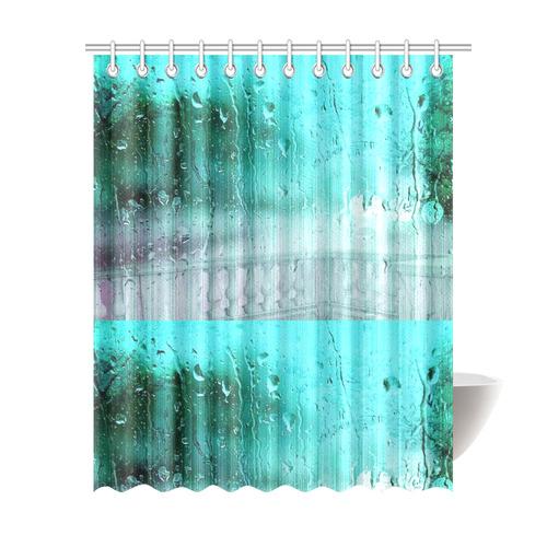Blue Rain Drops Shower Curtain