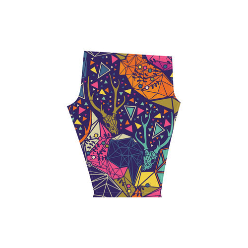 Skull with Floral and Polygonal Ornament Low Rise Capri Leggings (Invisible Stitch) (Model L08)