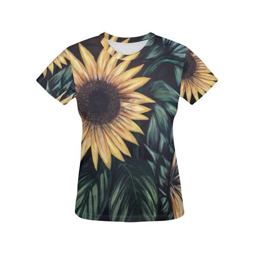 Sunflower Life All Over Print T-Shirt for Women (USA Size) (Model T40)