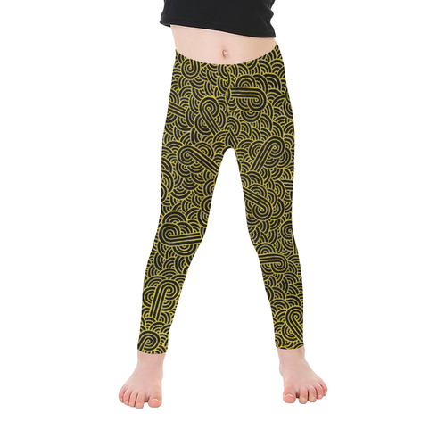 fe247a24e518b3 Faux gold and black swirls doodles Kid's Ankle Length Leggings (Model L06)  | ID: D1859385