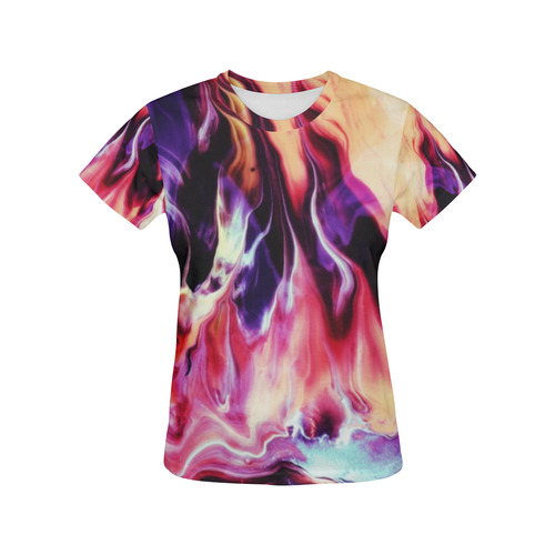 Abstract Watercolor Painting Crazy Fire All Over Print T-Shirt for Women (USA Size) (Model T40)