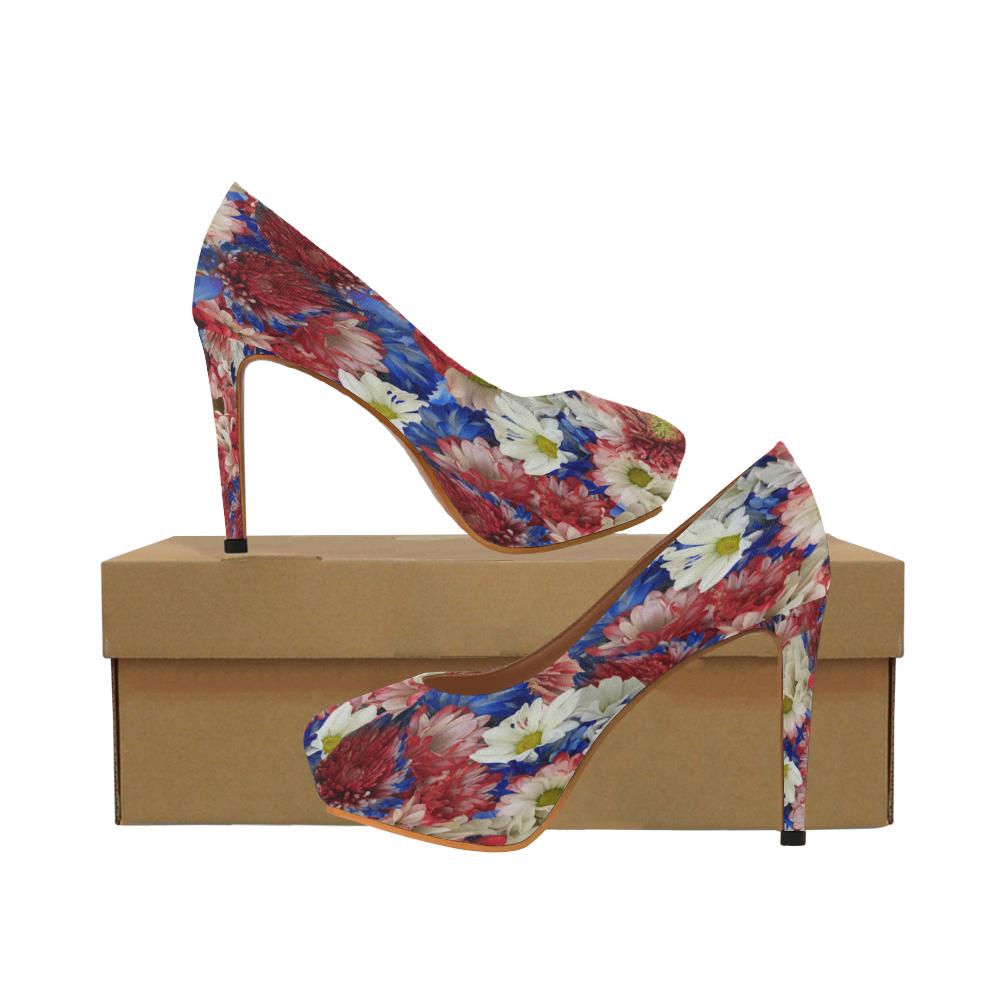 Red White Blue Flora Women's High Heels