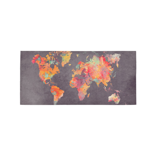 world map #world #map Area Rug 7'x3'3''