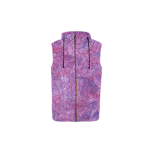 Bright pink and purple swirls doodles All Over Print Sleeveless Zip Up Hoodie for Kid (Model H16)