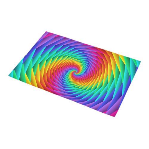 Psychedelic Rainbow Spiral Bath Rug 16''x 28''