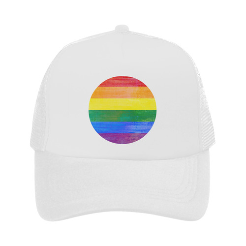Rainbow Flag Colored Stripes Grunge Trucker Hat